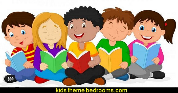 Happy Children Sitting on the Floor While Reading Books Peel and Stick Wall Decals