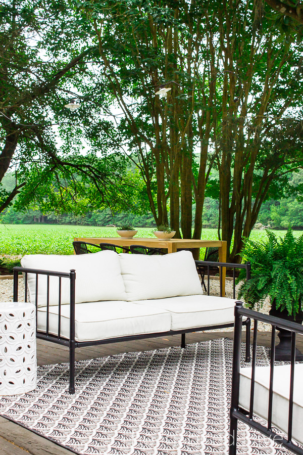 Black and white outdoor sofa