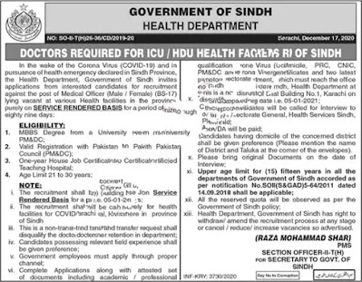 Jobs for Medical Officer in Health Department Sindh December 2020 ICU / HDU Facilities