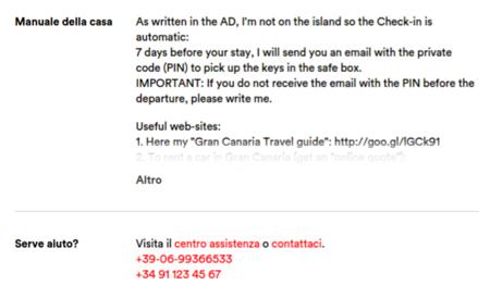 Airbnb centro assistenza contatta host