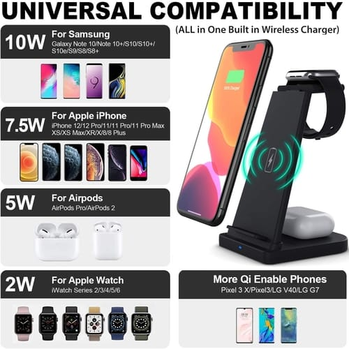 livelab Detachable 3 in 1 Wireless Charger Stand