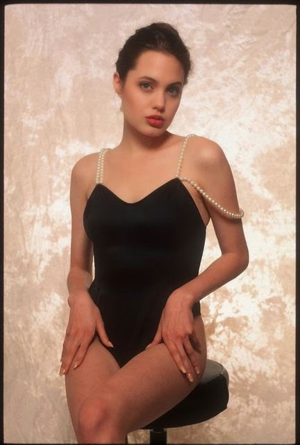Lingerie-clad Angelina Jolie at 16