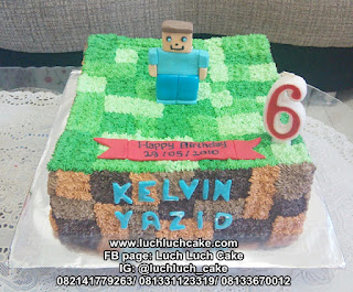 Kue Tart Minecraft Buttercream dan Fondant Figure