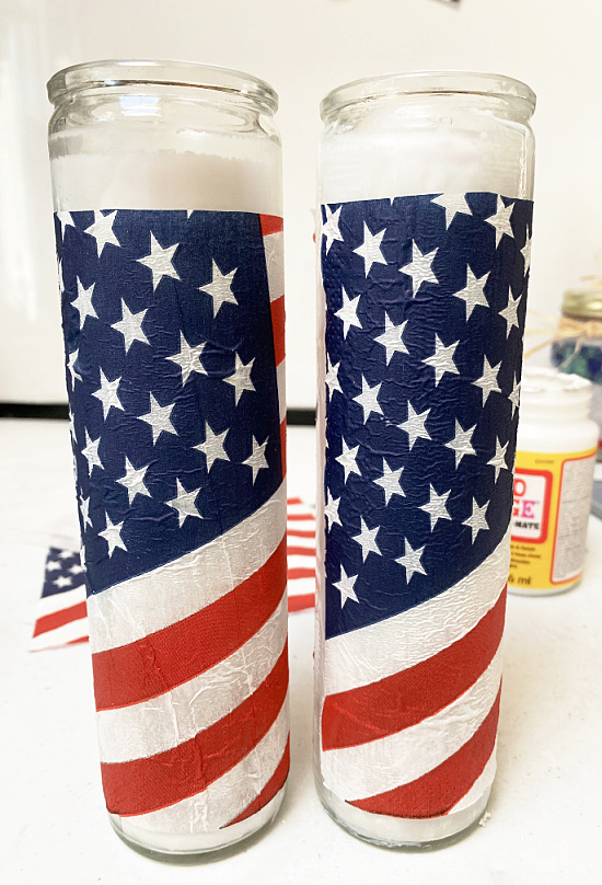 two flag candles with Mod Podge