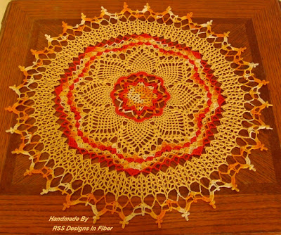 Yellow and Orange Sunburst Crochet Art Table Topper - Handmade By Ruth Sandra Sperling at RSS Designs In Fiber