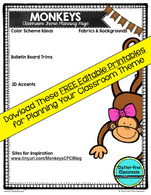 Are you planning an monkey themed classroom or thematic unit? This blog post provides great decoration tips and ideas for the best monkey theme yet! It has photos, ideas, supplies & printable classroom decor to will make set up easy and affordable. You can create a monkey theme on a budget!