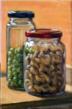 Oil painting of a tall and slender jar with a black lid containing wasabi peas beside a shorter jar with a red lid containing cashew nuts.