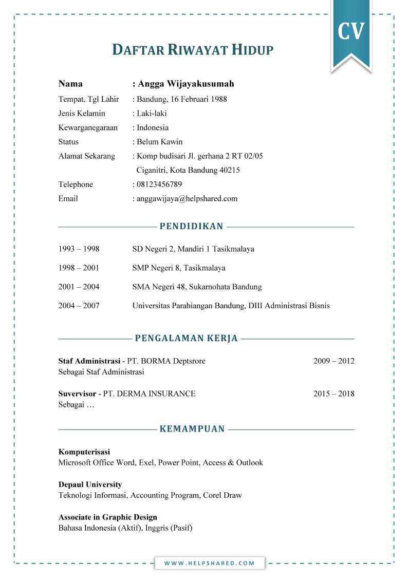Daftar Riwayat Hidup cv pdf doc word