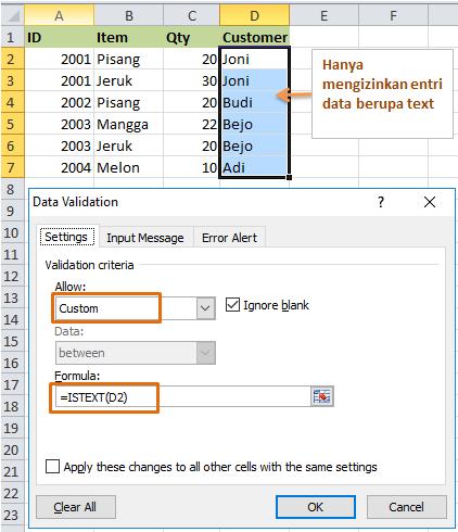 Formula Data Validation Mengizinkan Entri Text Saja