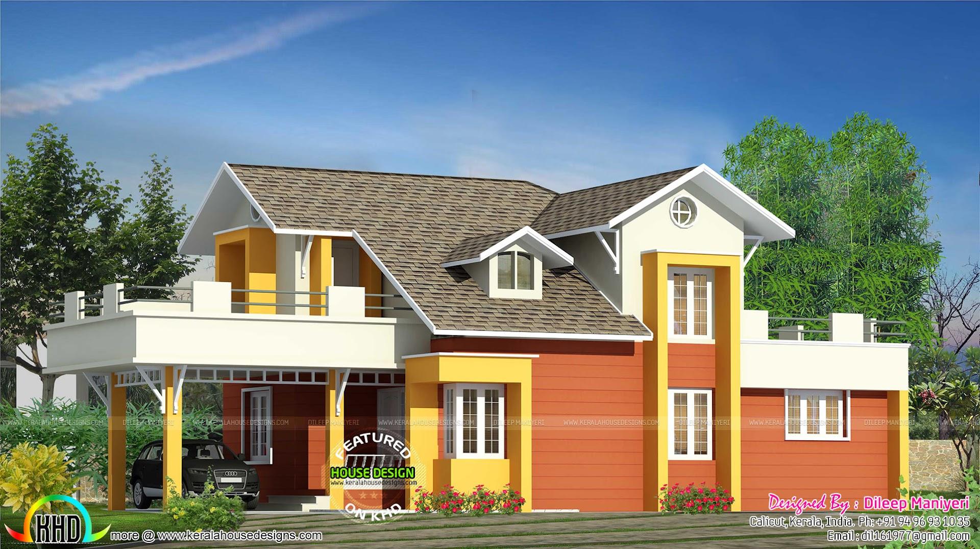 Semi Contemporary Colorful Home Kerala Home Design And