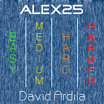 Striped background in blue with four vertical words with different colors each word that say Easy, Medium, Hard, Harder