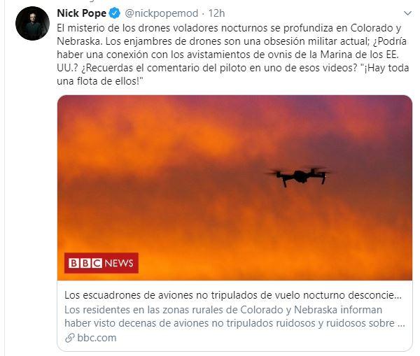 Nick Pope ¿hay relación entre los drones del Oeste de EE.UU. con los avistamientos de OVNIs de la Marina?