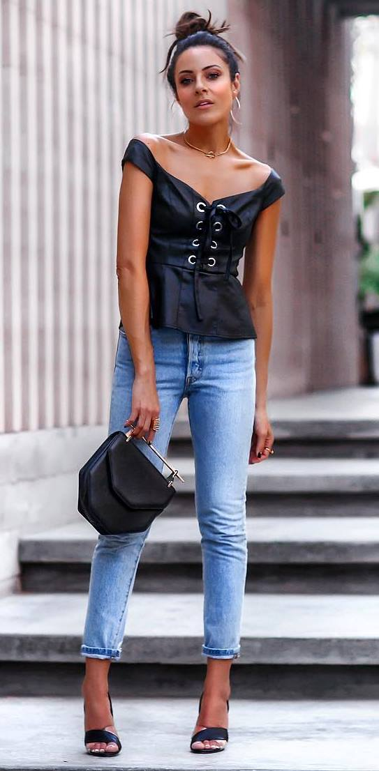 what to wear with a leather lace up top : black bag + jeans + heels
