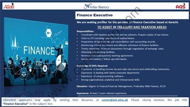 Atlas Battery Ltd Jobs Finance Executive