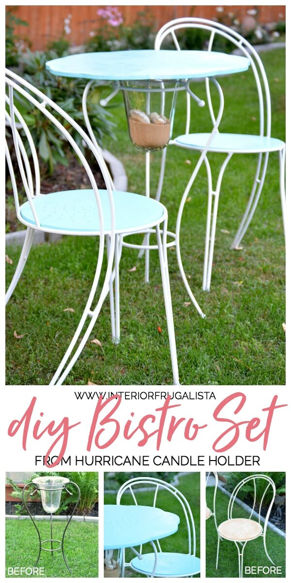 How to turn a hurricane candle holder with metal base and thrift store cafe chairs into a unique one-of-a-kind Coastal Bistro Dining Set for summer. #bistrotable #coastalfurniture #repurposedfurniture