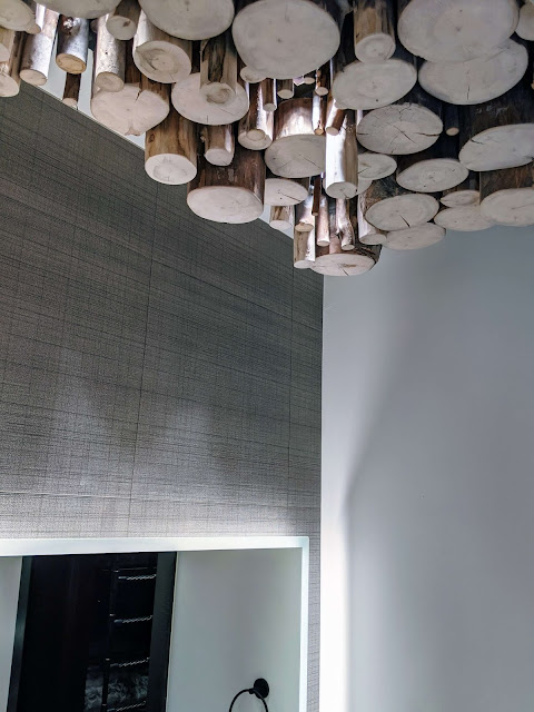 end cut logs on ceiling