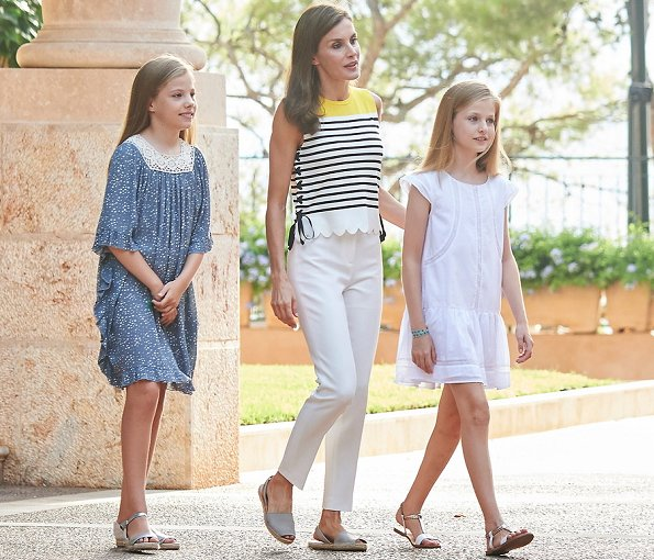 Queen Letizia wore MANGO Striped knit top