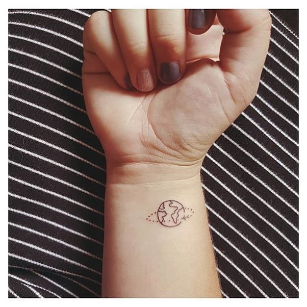 small earth tattoo design for hand