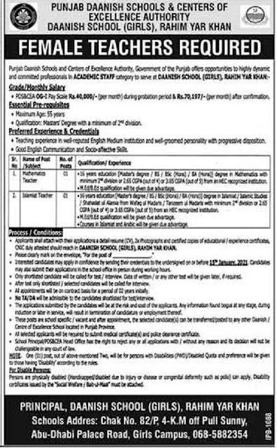 punjab-daanish-school-rahim-yar-khan-jobs-2020-for-teaching-staff