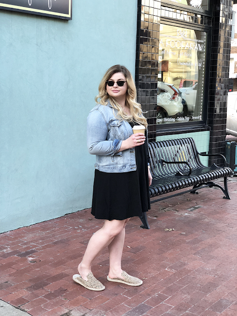 target style universal thread cotton dress summer style spring style denim jacket lucky brand louis vuitton marly monogram crossbody bag rayban clubmaster sunglasses coffee weekend style