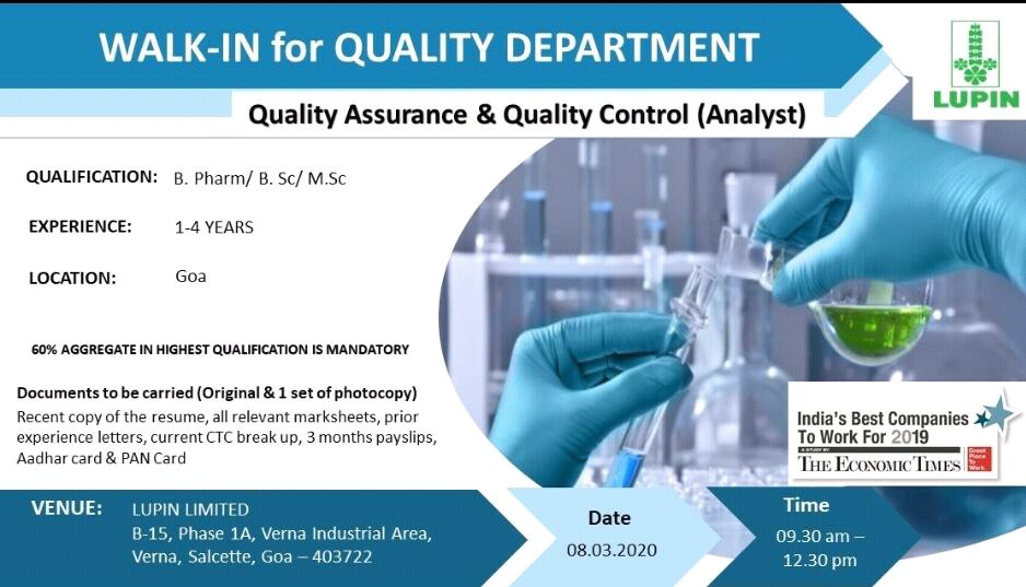 Lupin Ltd – Walk in interview for Quality Control & Quality Assurance on 8th March 2020
