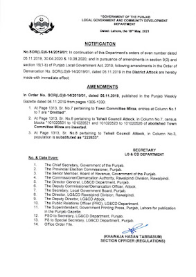 DEMARCATION OF TEHSIL COUNCILS AND ABOLISHED TOWN COMMITTEES OF DISTRICT ATTOCK