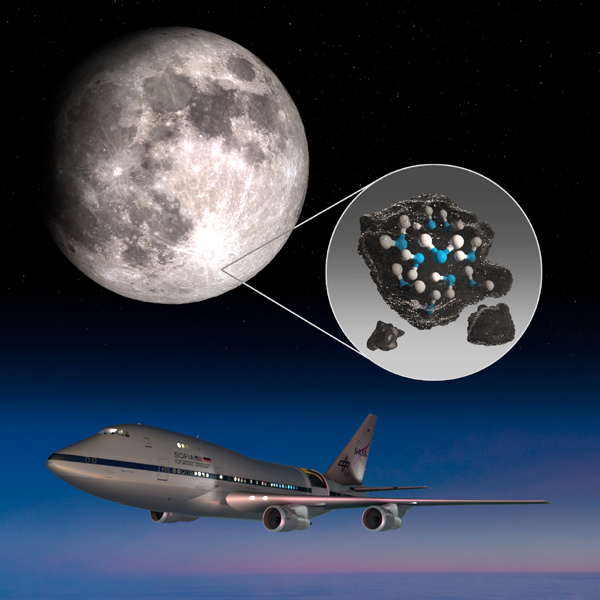 Observations made by NASA's SOFIA airborne observatory have revealed that water is present on the sunlit side of the Moon's surface.