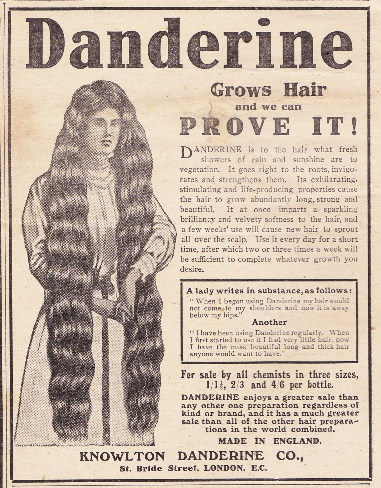 hold the front page: random ad - danderine (1910)