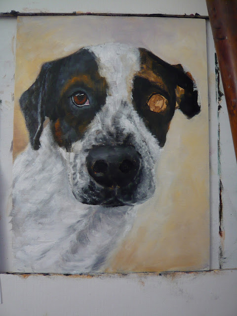 work-in-progress oil painting of a pointer dog