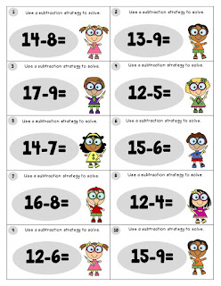Subtract Teen Numbers Task Cards