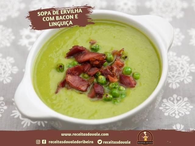 Receita de Sopa de Ervilha com Bacon e Calabresa