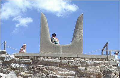 Reconstructed Horns of Consecration at Knossos made of porous limestone.