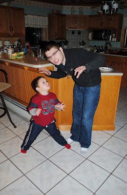 dancing dad and toddler