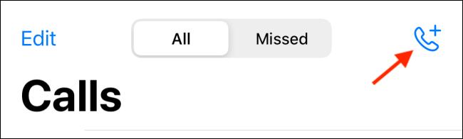 """انقر على زر الاتصال في قسم """"المكالمات"""" في تطبيق WhatsApp iPhone."""