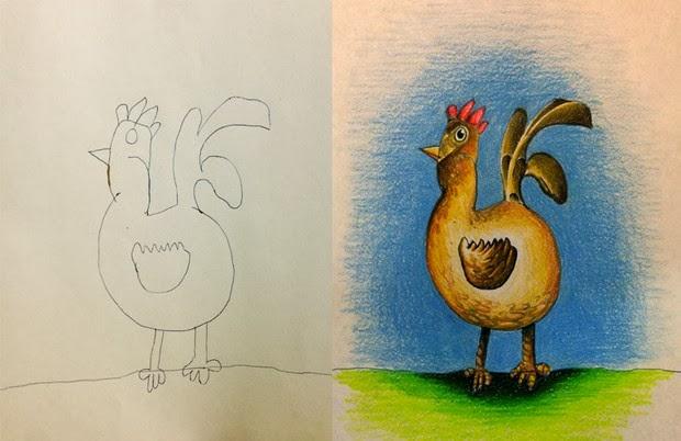 Creative Dad Colors His Kids' Drawings