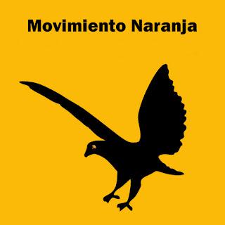 Ilustración Movimiento Naranja. Fondo naranja, el texto y la silueta de un águila