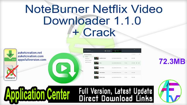NoteBurner Netflix Video Downloader 1.1.0 + Crack
