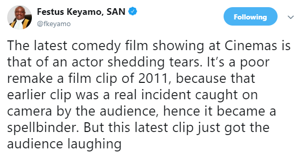 Keyamo in a tweet, compared the tears of both Atiku and Buhari and stated the reaction it got from Nigerians.
