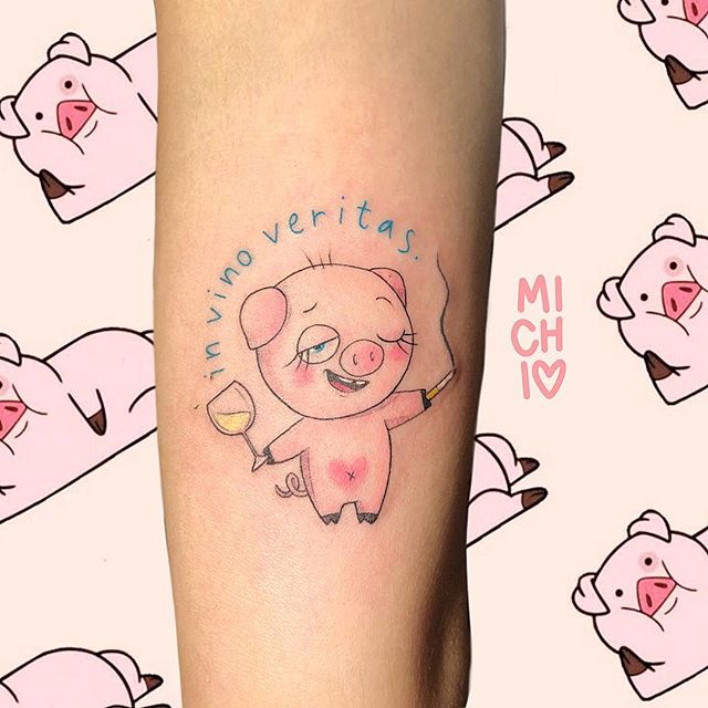 cute drunk pig tattoo