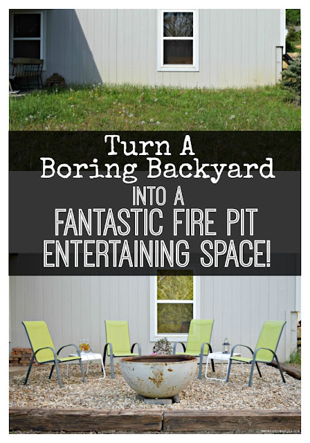 Boring backyard turned fantastic fire pit entertaining area - One Mile Home Style