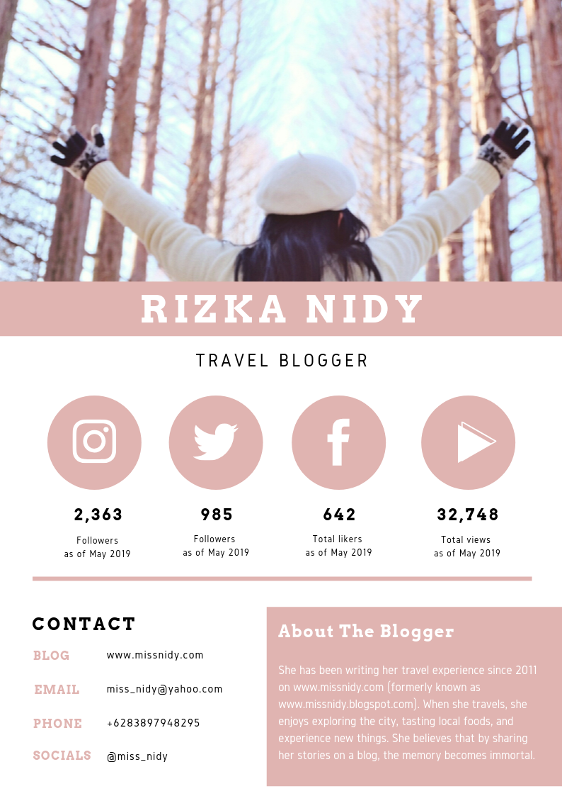 rate card travel blogger 2019