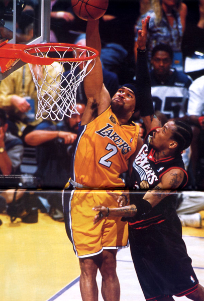 The Los Angeles Lakers' Derek Fisher dunks on the Philadelphia 76ers' Allen Iverson in Game 2 of the 2001 NBA Finals...as seen on a poster featured in SLAM magazine.