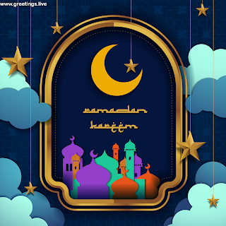 Ramadan Kareem 2019 images crescent moon Mosque hanging stars clouds islamic window frame