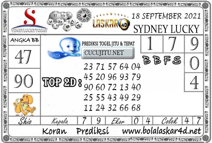 Prediksi Togel Sydney Lucky Today LASKAR4D 18 SEPTEMBER 2021