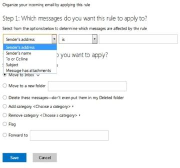 organize your incoming email by applying this rules
