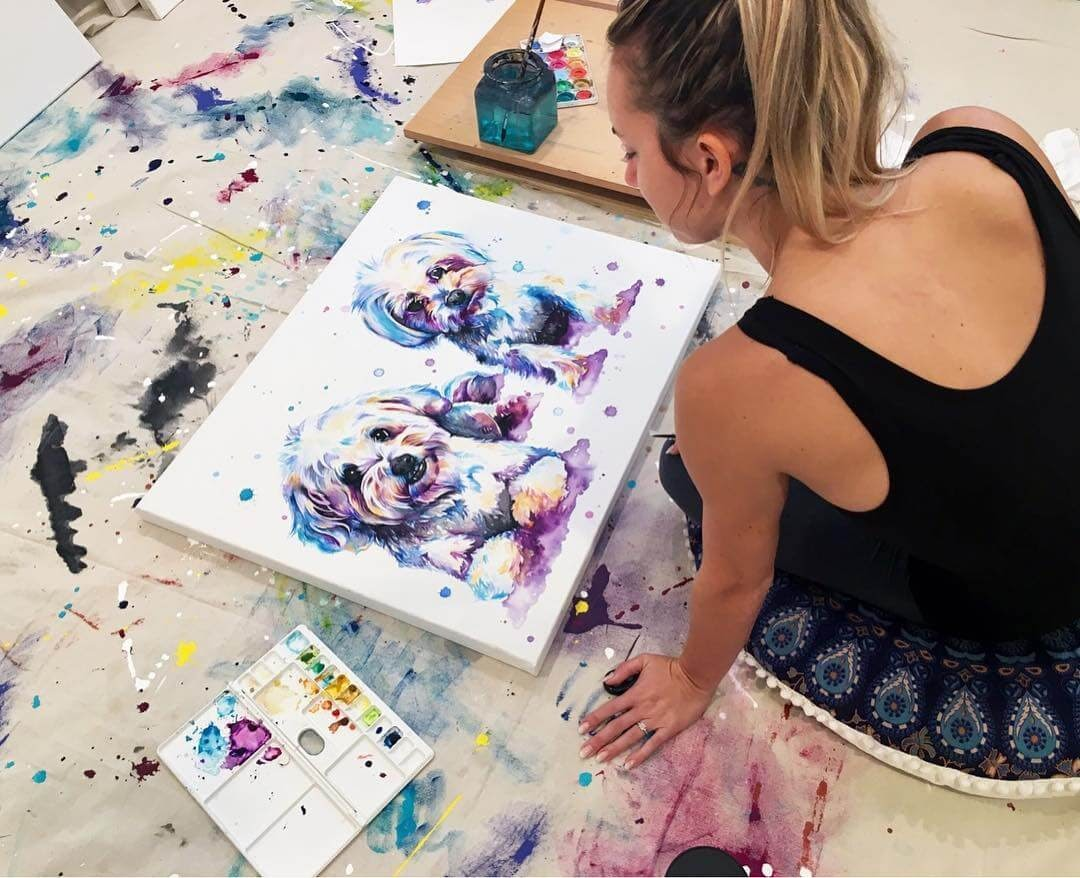 10-Dogs-Lindsay-Michelle-Colorful-Domestic-and-Wild-Animal-Paintings