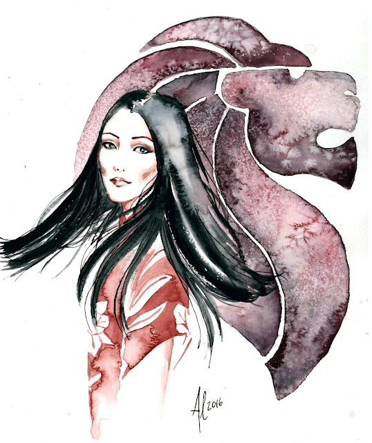 Singapore Yoyo Cao in Ong Shunmugam - Watercolor fashion illustration by Alessia Landi