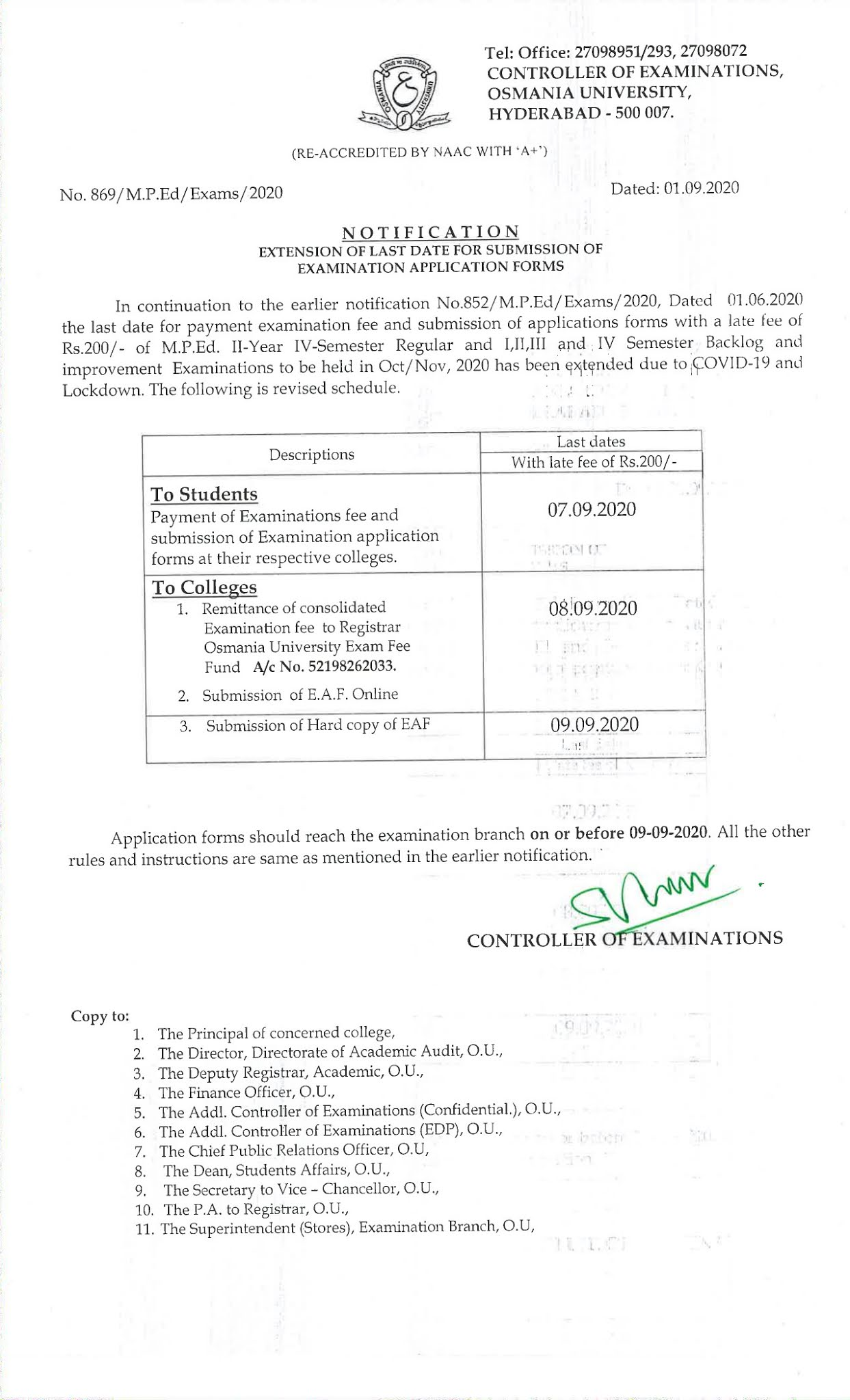 Osmania University M.P.Ed Oct 2020 Exam Fee Notification