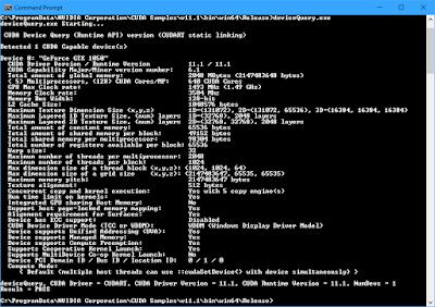 Screenshot of CUDA deviceQuery program
