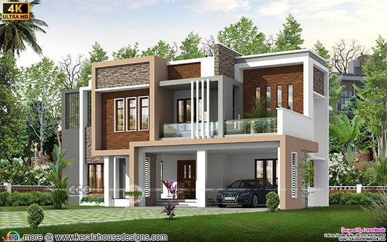 Flat roof style modern house architecture plan